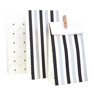 Silver & Black, Stripes & Spots Party Bag - 10 Pack