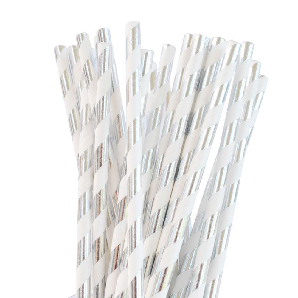 Silver Foil Stripe Paper Drinking Straws (25 pack)