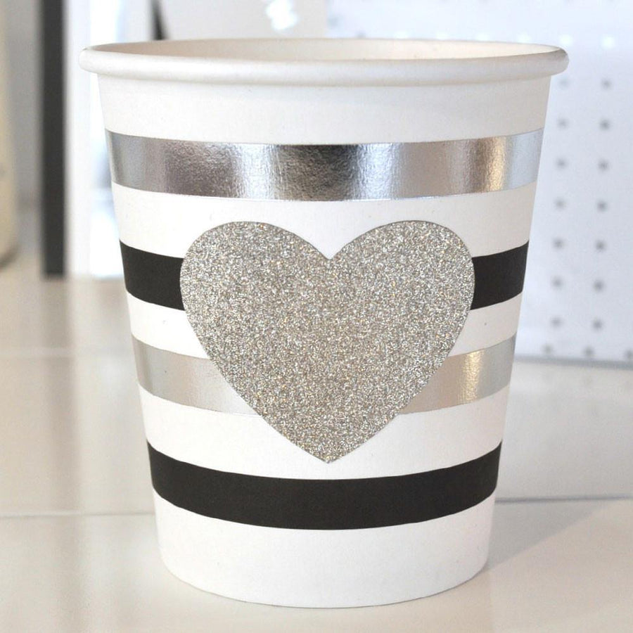 Silver & Black Foil Stripe Party Cup - Bickiboo Designs