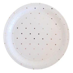 Silver Spots Large Party Plates (10 pack) - Bickiboo Designs