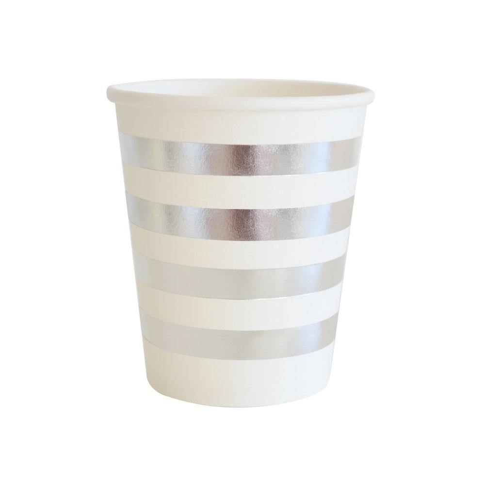 Silver Foil Stripe Party Cup