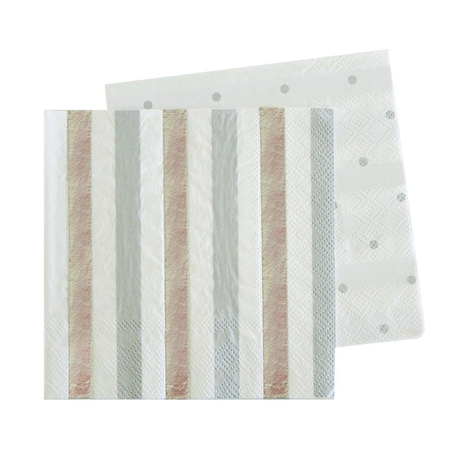 Silver & Black, Stripes & Spots Napkins - Pack of 20 - Bickiboo Designs