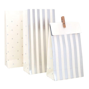 Silver Stripes & Spots Party Bag - 10 Pack - Bickiboo Designs