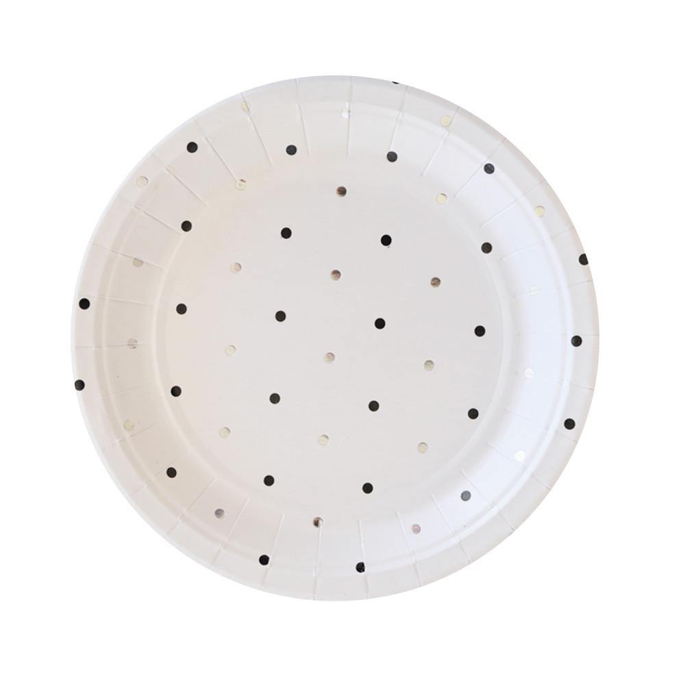 Silver & Black Spots Dessert Party Plates (10 pack)