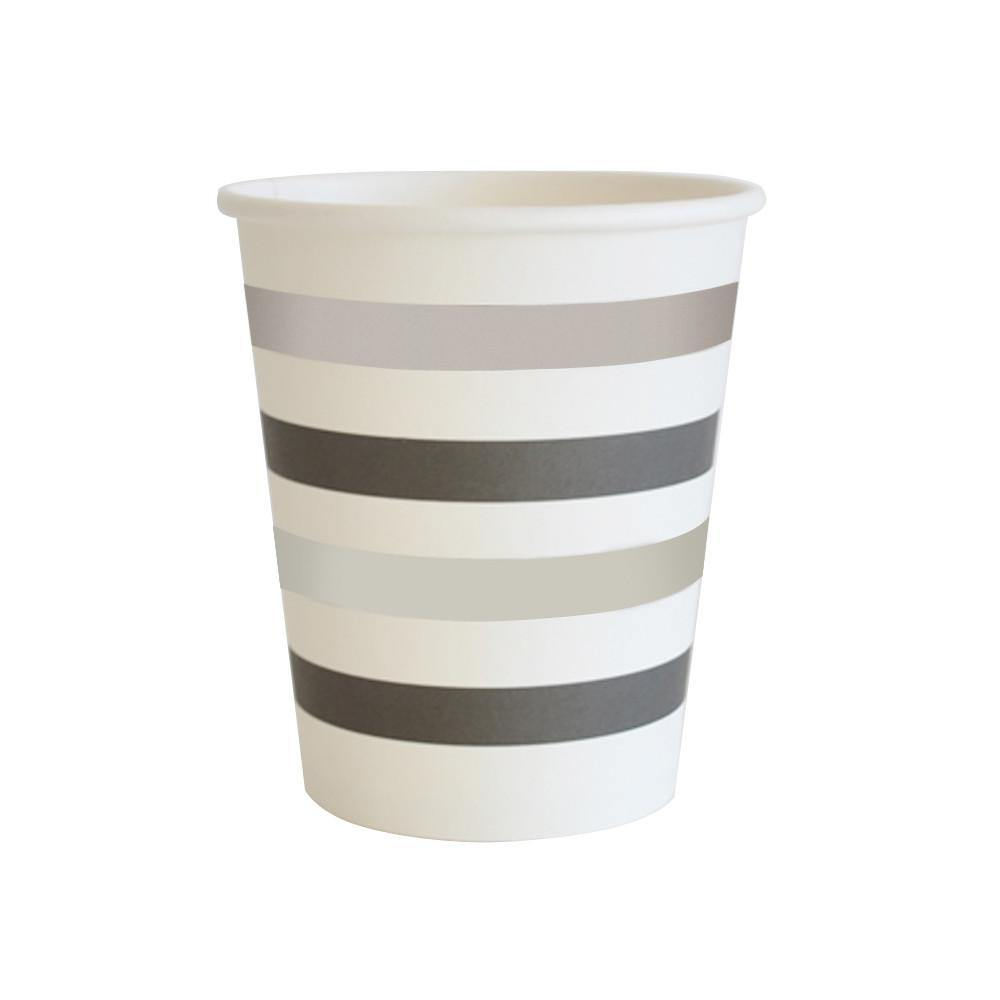 Silver & Black Foil Stripe Party Cup