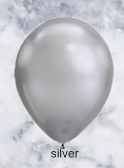 Silver Chrome Look Balloons - 28cm (5 pack)