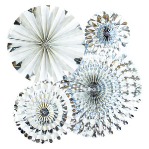 Silver Metallic Fans (4 pack)