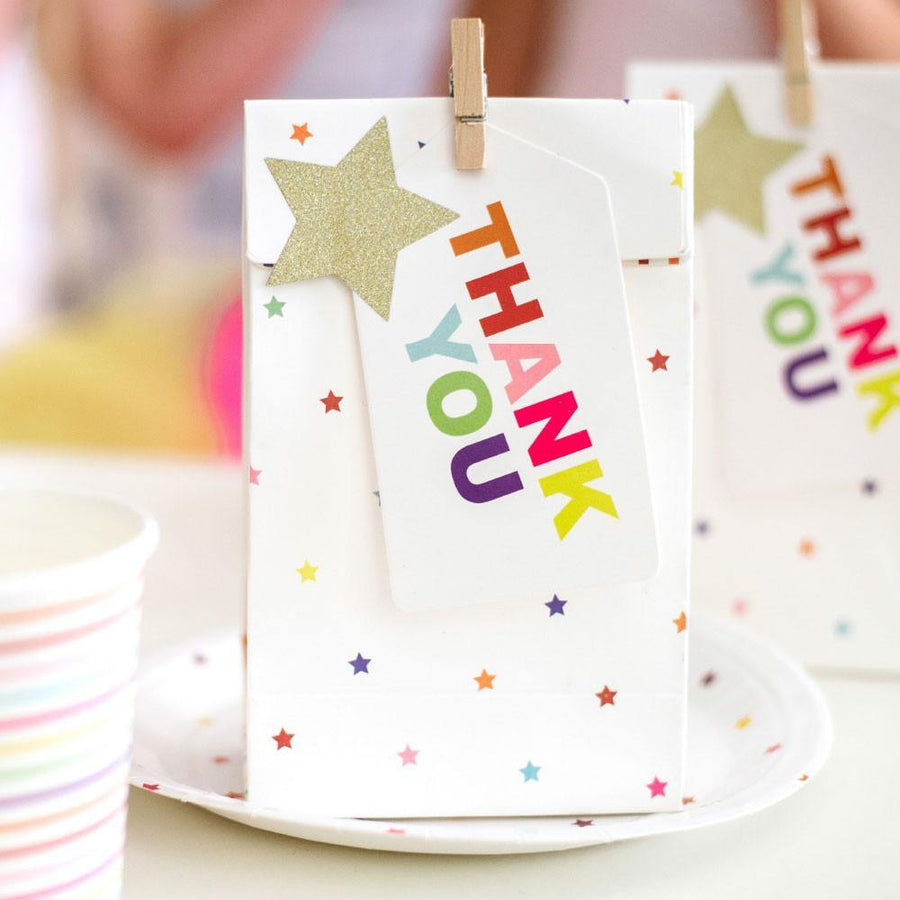 Rainbow Thank You Gift Tag - Pack of 10 - Bickiboo Designs