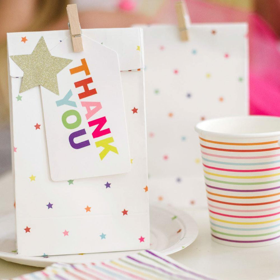 Rainbow Stripes & Stars Party Bag - 10 Pack - Bickiboo Designs