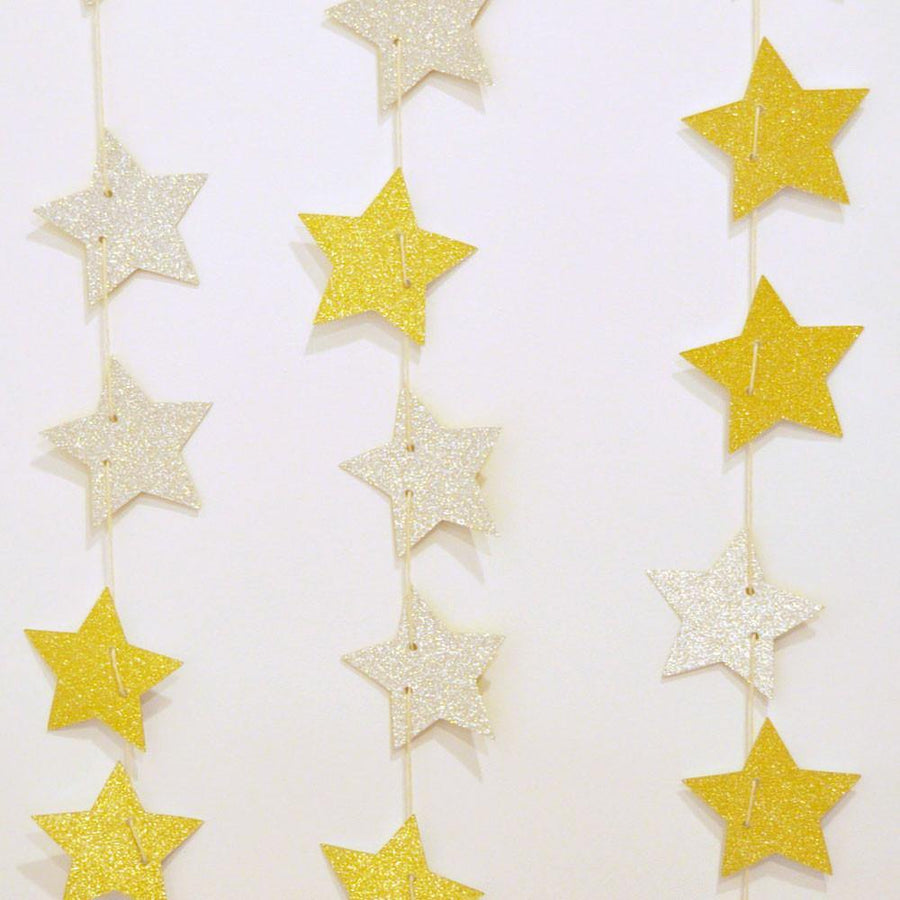 Gold & Silver Glitter Star Reversible Garland - Bickiboo Party Supplies