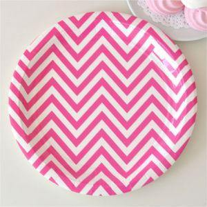 Chevron Hot Pink Large Party Plate - Bickiboo Party Supplies