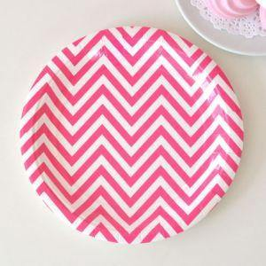 Chevron Hot Pink Dessert Party Plate - Bickiboo Party Supplies