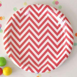 Chevron Red Large Party Plate - Bickiboo Party Supplies