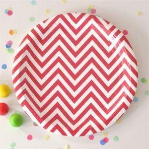 Chevron Red Dessert Party Plate - Bickiboo Party Supplies