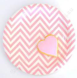 Chevron Pink Large Party Plate - Bickiboo Party Supplies