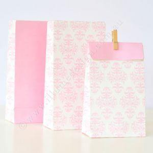 Damask Pink Party Bag - Bickiboo Party Supplies