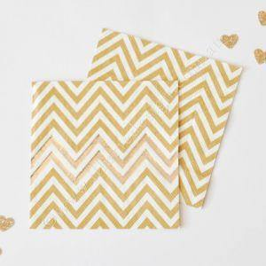Gold Foil Chevron Napkins - Pack of 20 - Bickiboo Party Supplies