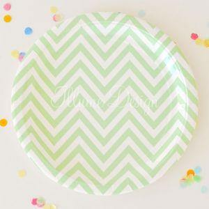 Chevron Green Large Party Plate - Bickiboo Designs