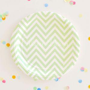 Chevron Green Dessert Party Plate - Bickiboo Party Supplies