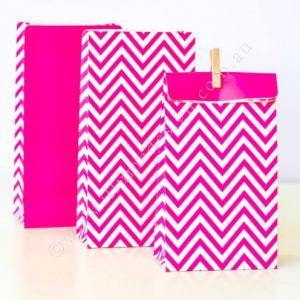 Chevron Hot Pink Party Bag - Bickiboo Party Supplies