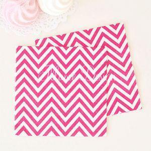 Chevron Hot Pink Napkins - Pack of 20 - Bickiboo Party Supplies