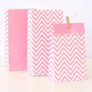 Chevron Pink Party Bag - Bickiboo Party Supplies