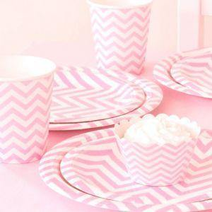 Chevron Pink Dessert Party Plate