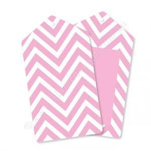 Chevron Pink Gift Tag - Pack of 12 - Bickiboo Party Supplies