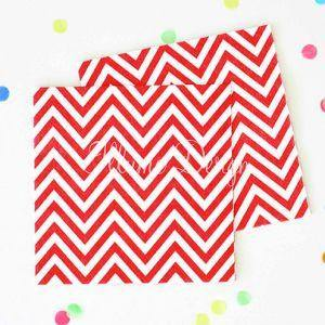 Chevron Red Napkins - Pack of 20 - Bickiboo Party Supplies