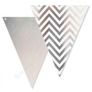 Silver Foil  Chevron Party Buntings