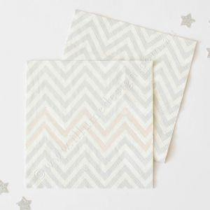 Silver Foil Chevron Napkins - Pack of 20