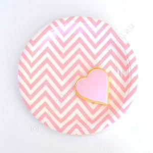 Chevron Pink Dessert Party Plate - Bickiboo Party Supplies