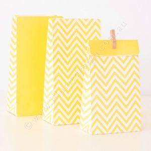 Chevron Yellow Party Bag - Bickiboo Party Supplies