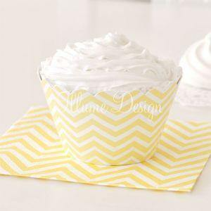 Chevron Lemonade Yellow Dessert Party Plate