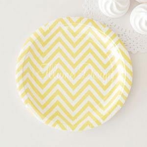 Chevron Lemonade Yellow Dessert Party Plate - Bickiboo Party Supplies