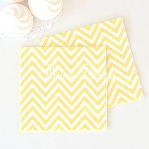 Chevron Yellow Napkins - Pack of 20 - Bickiboo Party Supplies