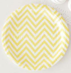 Chevron Lemonade Yellow Large Party Plate - Bickiboo Party Supplies