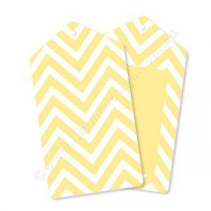 Chevron Yellow Gift Tag - Pack of 12 - Bickiboo Party Supplies