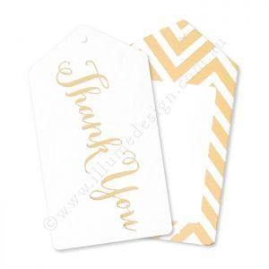 Chevron Gold Thank You Gift Tag - Pack of 12 - Bickiboo Party Supplies