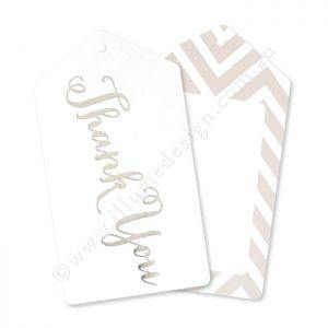 Chevron Silver Thank You Gift Tag - Pack of 12 - Bickiboo Designs