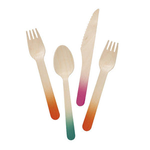 Tropical Fiesta Ombre Wooden Cutlery (pack of 12)