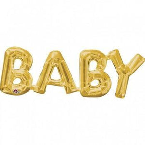 Gold 'BABY' Balloons