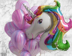 Unicorn Purple Marble Party Balloons Bouquet