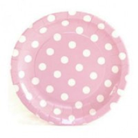 Pretty white polka dots on pink party plates - Bickiboo Designs