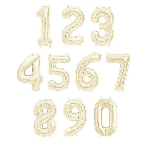 Giant White Gold Foil Number Balloon 100 cm