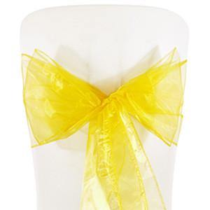 Yellow Organza Chair Sashes (pack of 5) - Bickiboo Designs