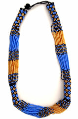 Zanele Blue Beaded Necklace - The PachaMama Project