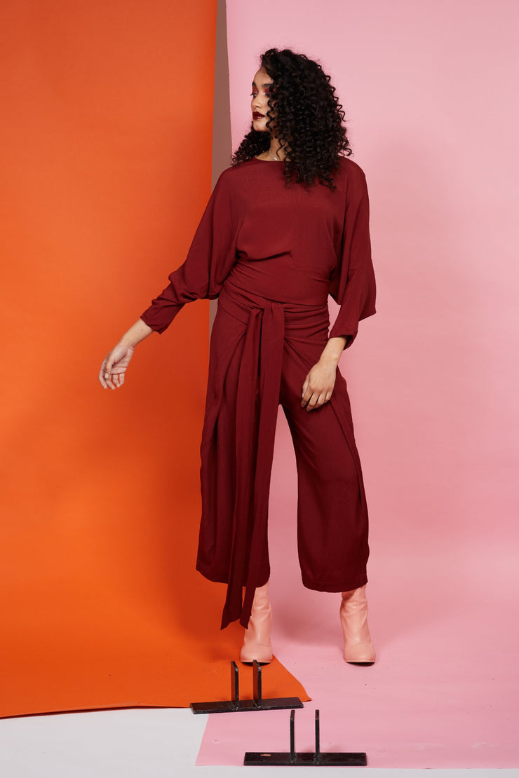 Maaike 100% viscose Ceremony Top - Garnet. Long sleeve batwing, reversible with ties.