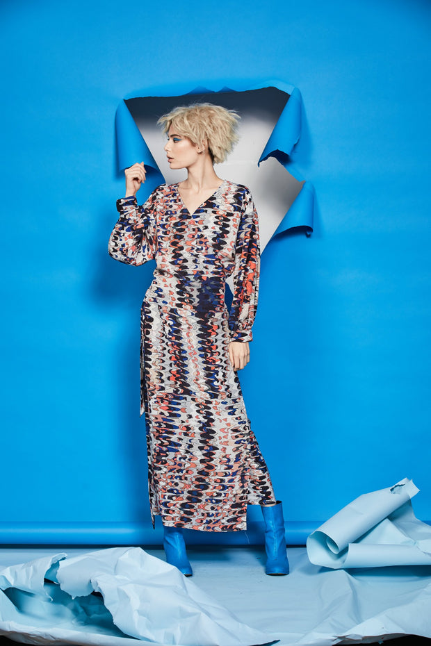 Cubist Wrap Dress - Echo Print