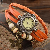 Women's Casual Vintage Multilayer Butterfly Faux Leather Bracelet Wrist Watch Ladies Female Clock Montre Femme Relogios 2017 Hot